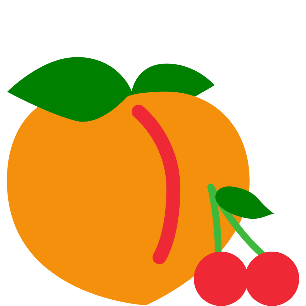 Peach and Cherries Simple Graphic